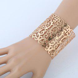 Chunky Hollowed Filigree Cuff Bracelet - GOLDEN