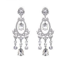 Rhinestone Hollowed Fringed Chandelier Earrings