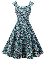 Vintage Sleeveless Floral Print High Waist Dress -