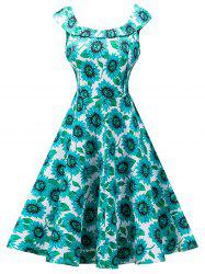 Vintage Sunflower Print High Waist Skater Dress