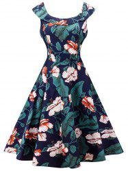 Retro Floral Print High Waist A Line Dress
