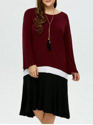 Plus Size Color Block Long Sleeve Smock Dress