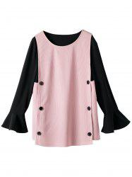 Button Flare Sleeve Plus Size Insert Blouse - PINK 5XL