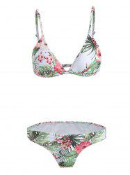 Floral Print Low Cut Bikini Set