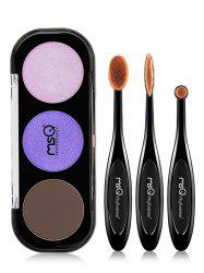 3 Colours Eyeshadow Palette and Eyeshadow Brushes -