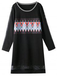 Hollow Out Insert Plus Size Graphic Dress -