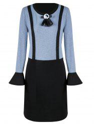 Plus Size Straight Dress with Bow Tie
