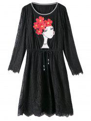 Plus Size Lace Scalloped Dress with Girl Applique