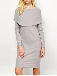 Bertha Collar Long Sleeve Knee Length Dress
