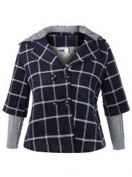 Plus Size Double Breasted Plaid Hooded Coat - CADETBLUE 5XL