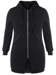 Plus Size Hooded Zip Up Coat - BLACK 4XL