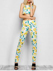 Lemon Print Pants with Tank Top