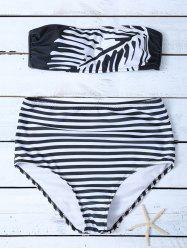 Tube Top High Waisted Striped Bikini Set