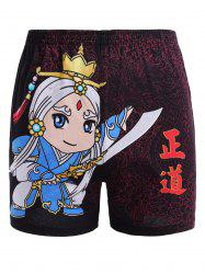 Elastic Waist Chinese Character Cartoon Print Shorts