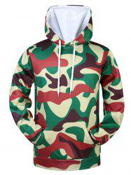 Kangaroo Pocket Drawstring Camo Hoodie - CAMOUFLAGE COLOR 3XL