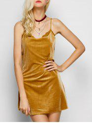 Cami Lace Panel Velour Mini Dress -