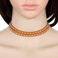 Multilayered Faux Leather Rivets Choker Necklace