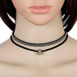 Rhinestoned Velvet Double Layered Choker Necklace