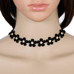 Faux Leather Velvet Flower Choker Necklace