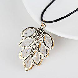 Rhinestone Tree Leaf Pendant Necklace