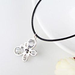 Rhinestone Butterfly PU Leather Rope Necklace