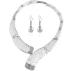 Alloy Rhinestone Necklace and Bead Earrings - SILVER