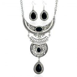 Vintage Rhinestone Teardrop Necklace and Earrings - SILVER AND BLACK