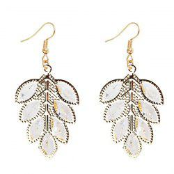 Rhinestone Tree Leaf Drop Earrings