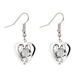 Rhinestone Heart Shaped Earrings - SILVER