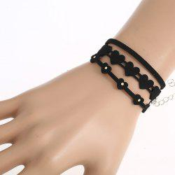 Faux Leather Heart Velvet Bracelet - BLACK