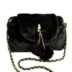 Fuzzy Chain Pompons Crossbody Bag