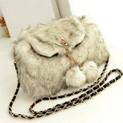 Chain Pompons Colour Block Crossbody Bag