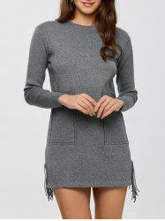 Fringed Mini Sweater Dress
