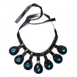Ribbon Teardrop Rhinestone Bib Necklace - CERULEAN