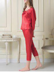 Embroidered Satin Capri Pajamas Set