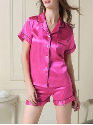 Satin Boxer Pajamas Summer Set - ROSE RED