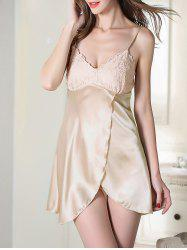 Satin Slip Lace Panel Sleep Dress - CHAMPAGNE