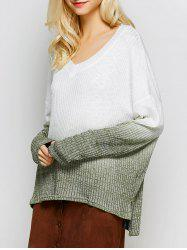 V Neck High-Low Ombre Knitwear