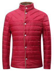 Stand Collar Flocking Single Breasted Wadded Jacket - RED 2XL