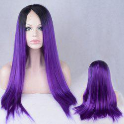 Long Color Mixed Side Parting Silky Straight Lace Front Synthetic Wig