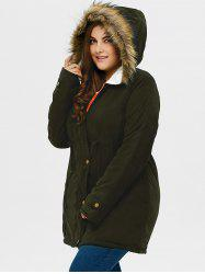 Plus Size Drawstring Hooded Parka Coat With Fur Collar - ARMY GREEN