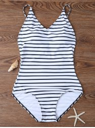 Backless Striped V Neck One Piece Swimsuit - WHITE