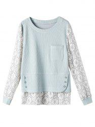 Plus-size Sweat-shirt Jacquard floral - Gris Bleu