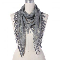 Travel Leaf Tassel Lace Triangle Scarf -