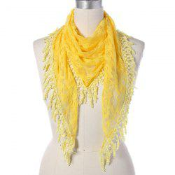 Travel Leaf Tassel Lace Triangle Scarf