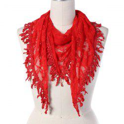 Travel Leaf Tassel Lace Triangle Scarf - RED