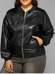 Plus Size Zipped Faux Leather Bomber Jacket - BLACK