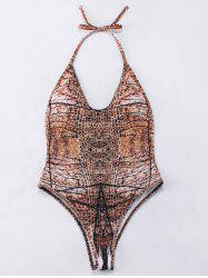 Halter Tie-Dyed Backelss One-Piece Swimwear - BROWN L