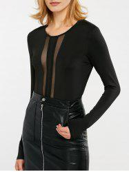 See Through Mesh Yarn Insert Long Sleeve Bodysuit