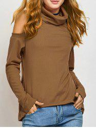 Turtle Neck Cold Shoulder Knitwear - KHAKI